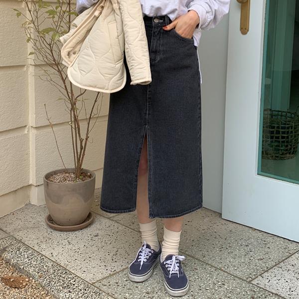 66girls-슬릿롱데님SK (기모)♡韓國女裝裙