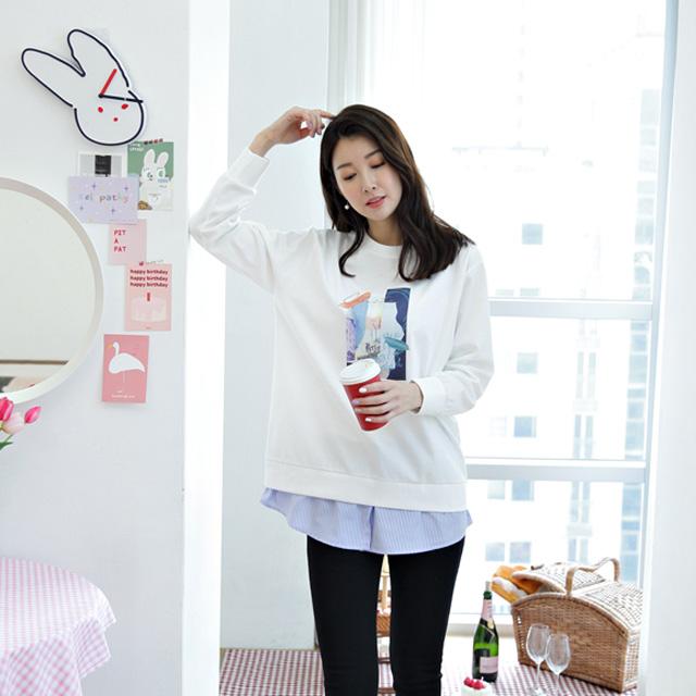 tiramisu-118리얼스트라이프셔츠배색롱티♡韓國女裝上衣