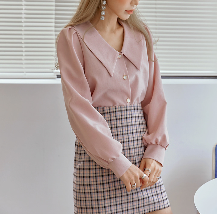 common-unique--로네스 빅 카라 주얼리 블라우스♡韓國女裝上衣