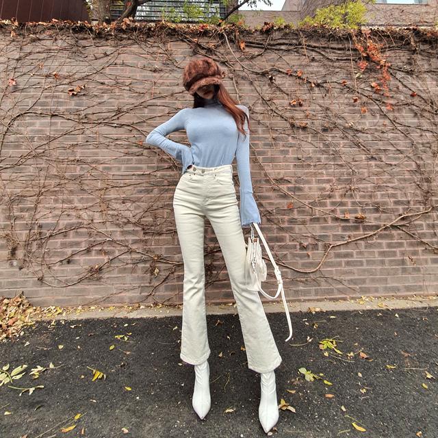iampretty-[[3169]언발버튼 기모 부츠컷팬츠]♡韓國女裝褲