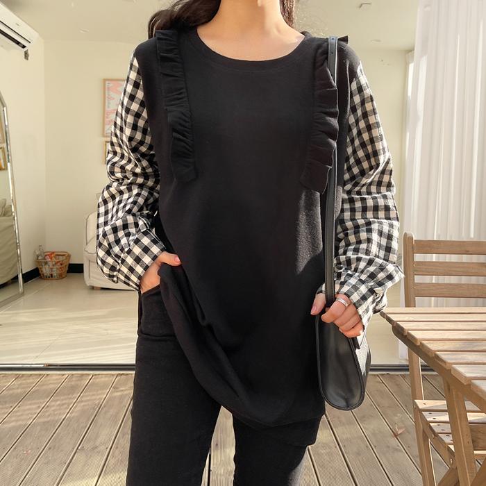 09women-[모힐 겉기모 배색 체크 셔츠티 52402]♡韓國女裝上衣