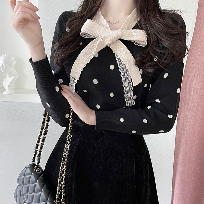myfiona-도트레이스 배색 니트티 a1172 - 러블리 로맨틱룩 1위 쇼핑몰 피오나♡韓國女裝上衣
