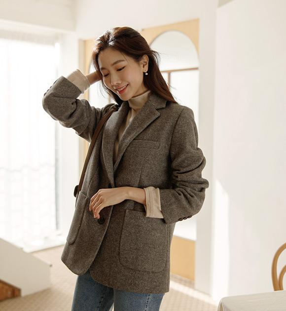 justone-모멘 울60% 보카시 싱글자켓♡韓國女裝外套