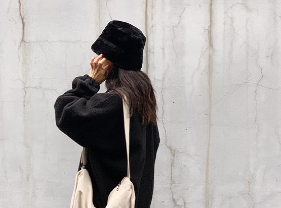 hellosweety-[모이츠 퍼 버킷햇]♡韓國女裝飾品