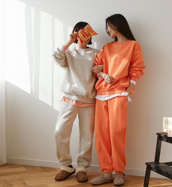 justone-이지룩 기모 맨투맨+조거팬츠 세트♡韓國女裝套裝