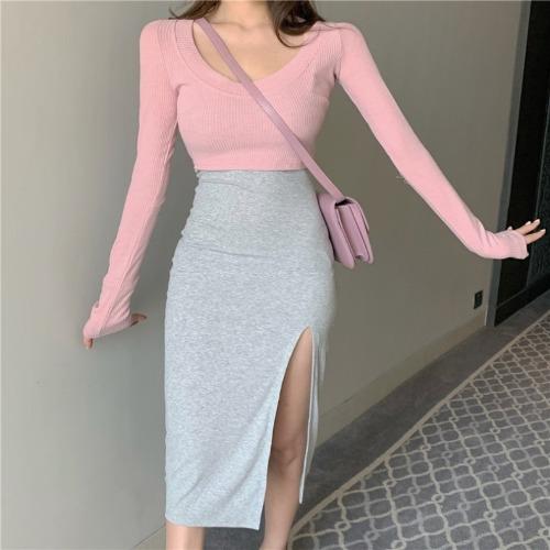 zanne-나나 크롭 골지 니트 트임 나시 원피스 투피스 세트 - 잔느♡韓國女裝套裝