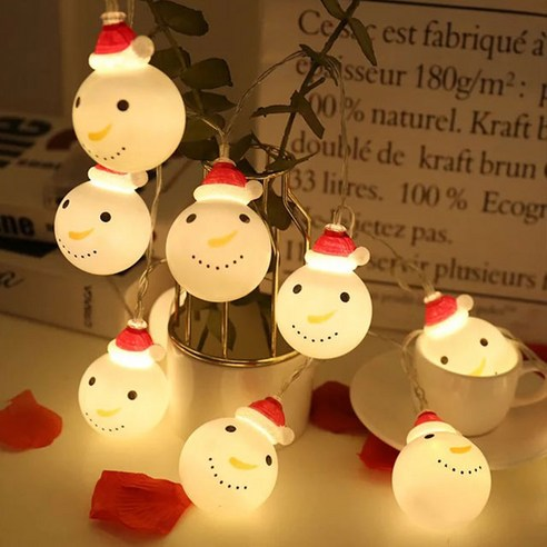 聖誕LED燈 - 雪人花環20P (USB充電)