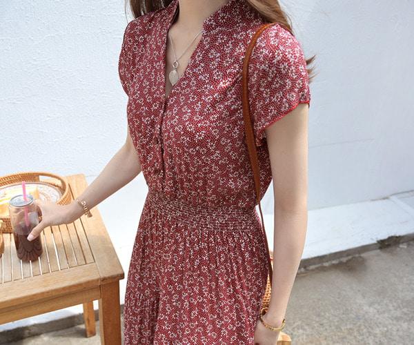 酒紅色復古印花連身裙