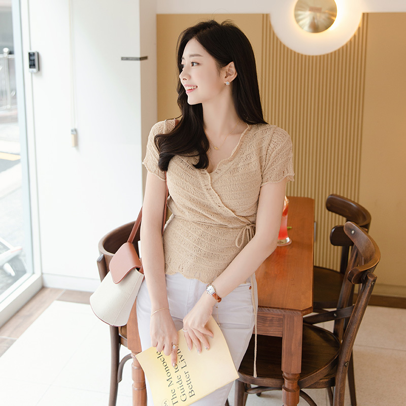 attrangs-cd1446 페미닌한 무드의 랩디자인과 물결디테일의 리본스트링 반팔 니트 겸 가디건 cardigan♡韓國女裝外套