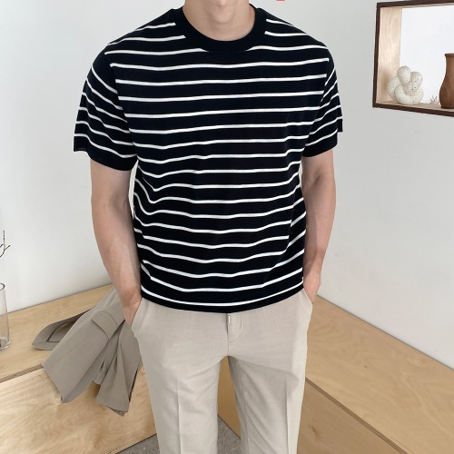 modernsweet-린넨 스트라이프 반팔 니트 6color - 모던스윗(modernsweet)♡韓國男裝上衣