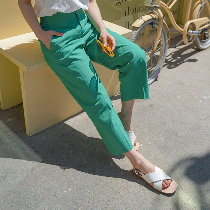 09women-[젤스 린넨 뒷밴딩 와이드 팬츠 49662]♡韓國女裝褲