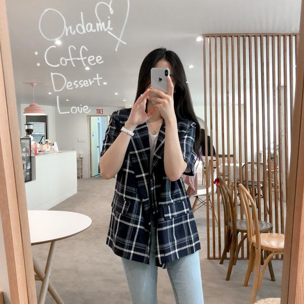 realcoco-체크 린넨 더블자켓♡韓國女裝外套