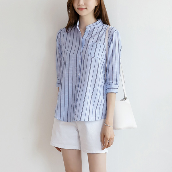 misscandy-[no.19020 차이나넥 원포켓 스트라이프셔츠]♡韓國女裝上衣