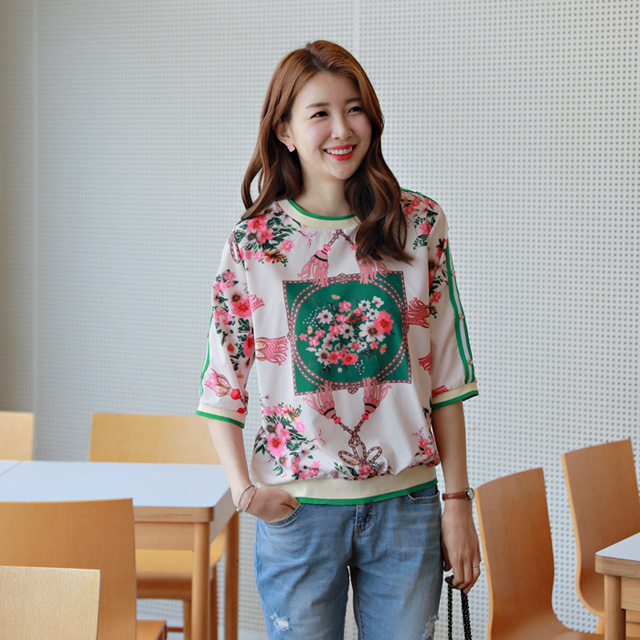 tiramisu-7785가든플라워나염블라우스♡韓國女裝上衣