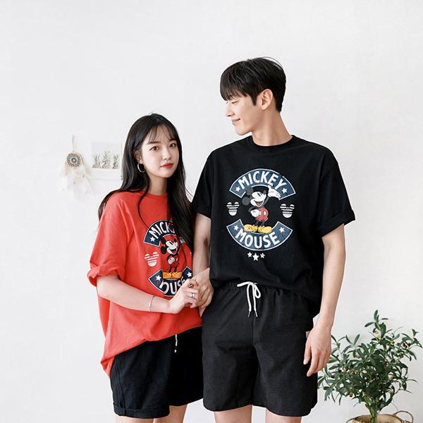 tomonari-토모나리(TOMONARI) [크랙 미키 반팔 티셔츠]♡韓國男裝上衣