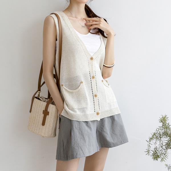 misscandy-[no.19057 스카시 Y라인 썸머 니트베스트]♡韓國女裝外套