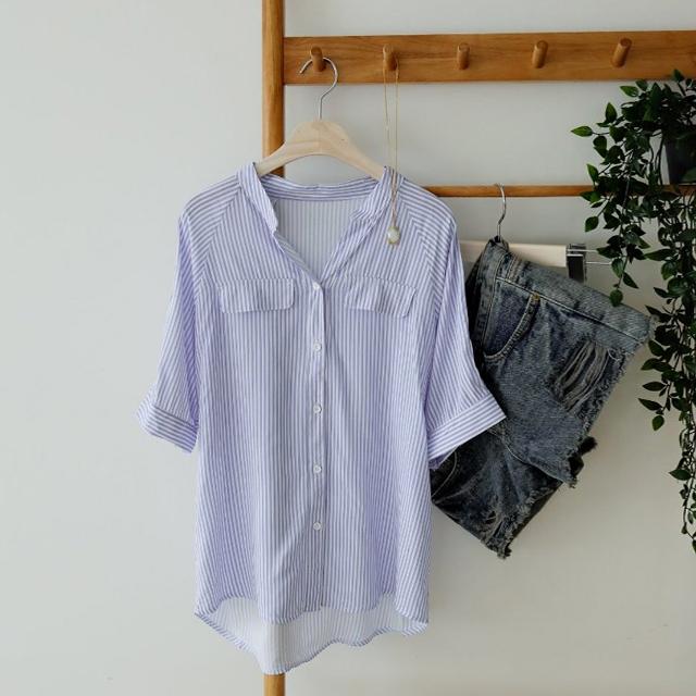 tiramisu-112설레임스트라이프포켓블라우스♡韓國女裝上衣