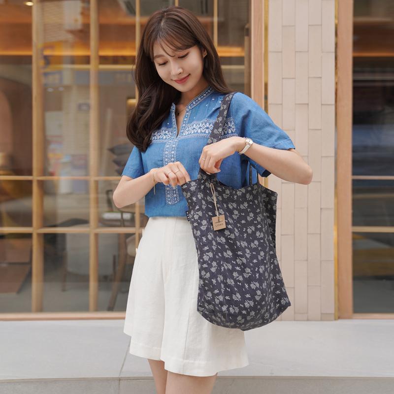 clicknfunny-[센플라워 린넨에코백]♡韓國女裝袋