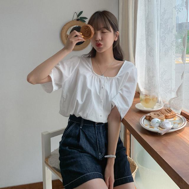 banharu-반하루[[MADE] 스퀘어넥 스트링 크롭블라우스]♡韓國女裝上衣