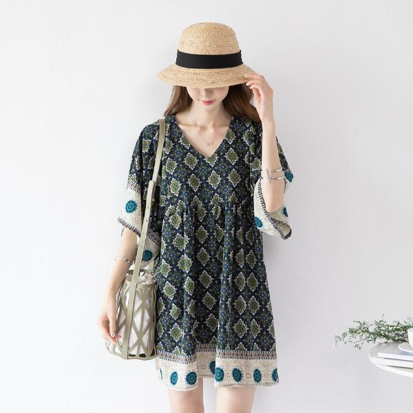 misscandy-[no.17613 에스닉패턴 와이드소매 루즈핏원피스]♡韓國女裝連身裙
