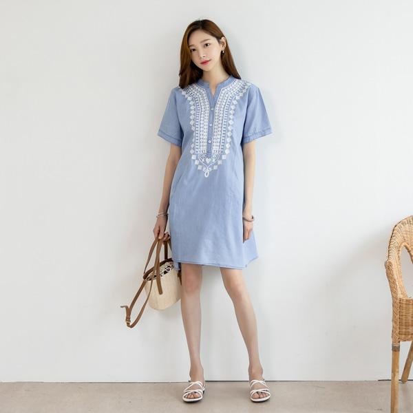 misscandy-[no.19080 자수포인트 반오픈 데님원피스]♡韓國女裝連身裙