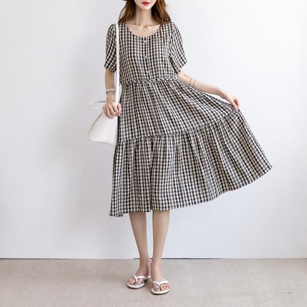 misscandy-[no.18968 단추디테일 리본스트링 체크원피스]♡韓國女裝連身裙