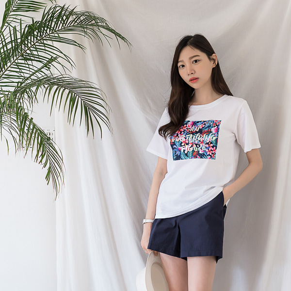 misscandy-[no.15022 트로피칼 라운드넥 코튼티셔츠]♡韓國女裝上衣