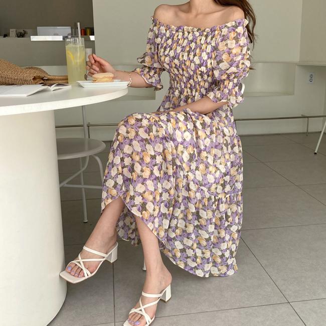 cherryville-[라벤더플라워 롱원피스]♡韓國女裝連身裙