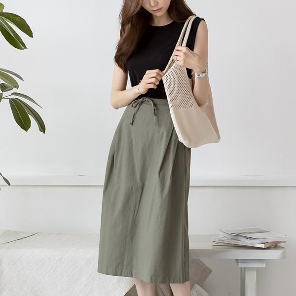 misscandy-[no.18959 더블핀턱 뒷밴딩 A라인 코튼스커트]♡韓國女裝裙