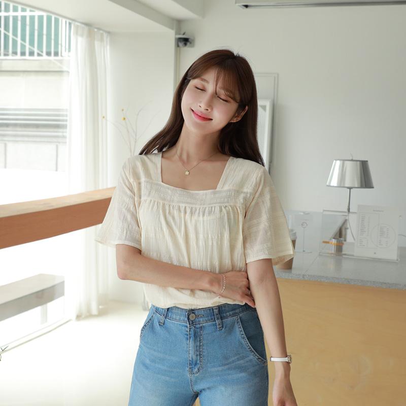 clicknfunny-[엘르체크 스퀘어넥블라우스]♡韓國女裝上衣