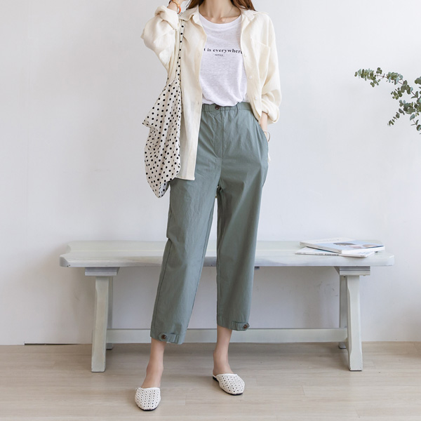 misscandy-[no.18947 비조장식 아방핏 8부 밴딩바지]♡韓國女裝褲