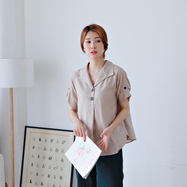 tiramisu-0725막스린넨블라우스♡韓國女裝上衣