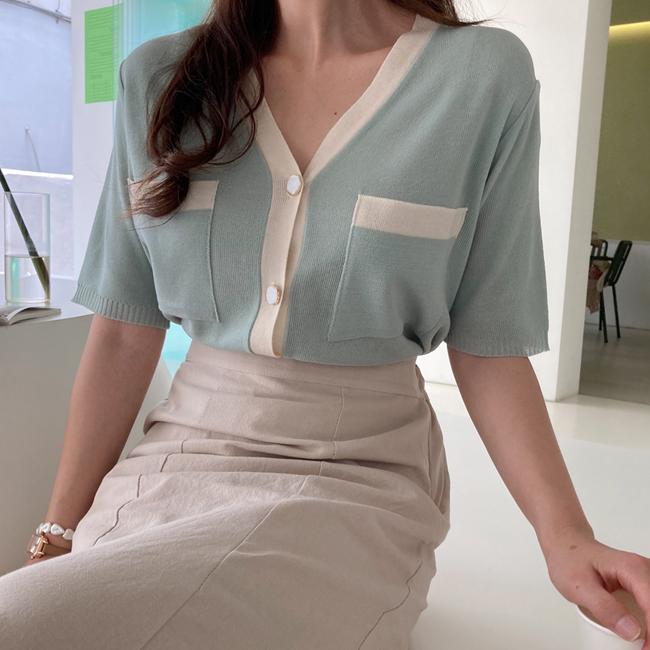 cherryville-[솜사탕같아 브이넥가디건]♡韓國女裝外套