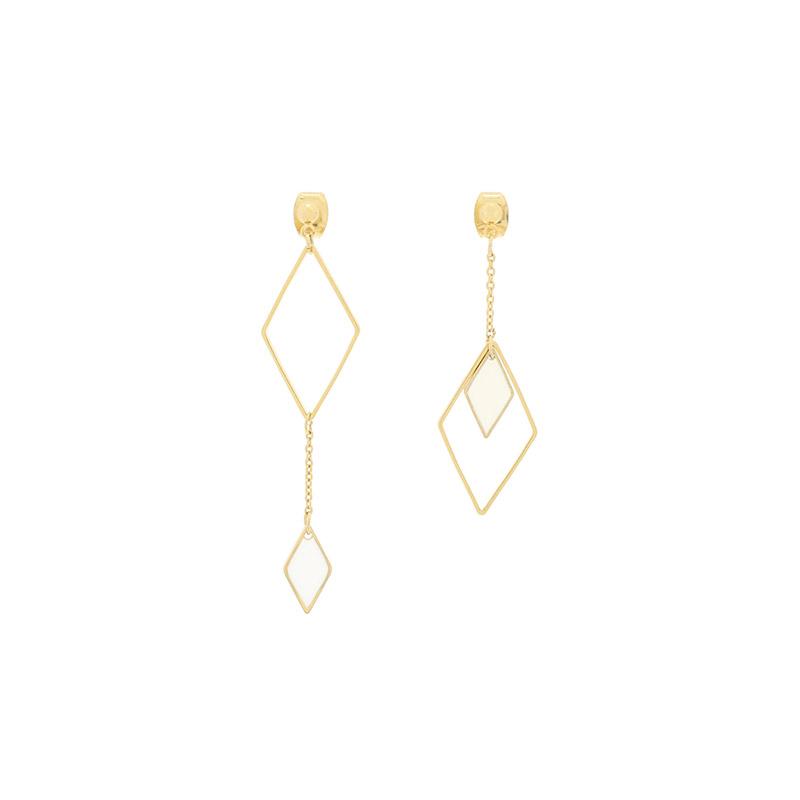 attrangs-ac4546 유니크한 마름모 쉐입과 언밸런스하게 완성된 골드 롱 드롭 이어링 earring♡韓國女裝飾品