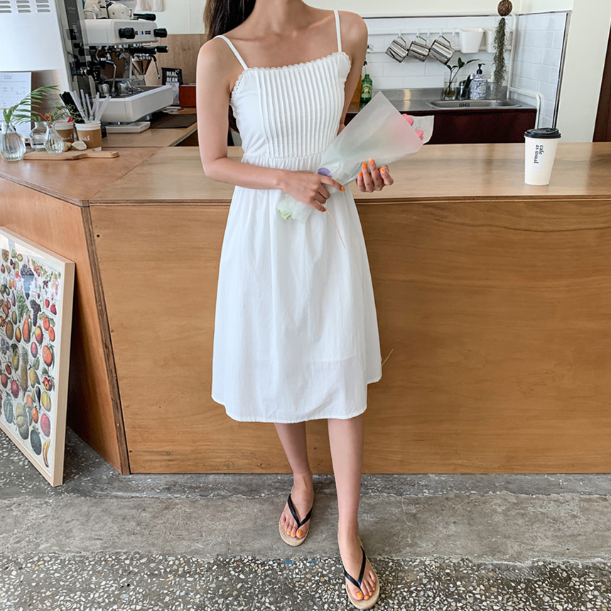 少女直紋吊帶連身裙