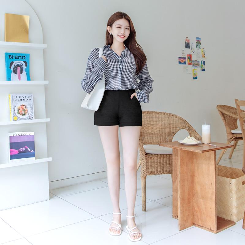 attrangs-ps2274 깔끔한 핏감에 쫀쫀한 신축성을 담은 베이직 하이 코튼 쇼츠 pants♡韓國女裝褲