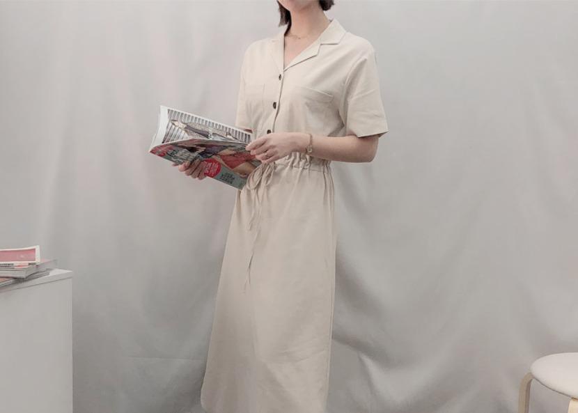 文青米色連身長裙