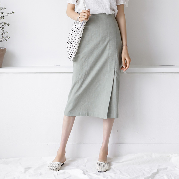 misscandy-[no.18962 슬릿포인트 린넨 스커트]♡韓國女裝裙