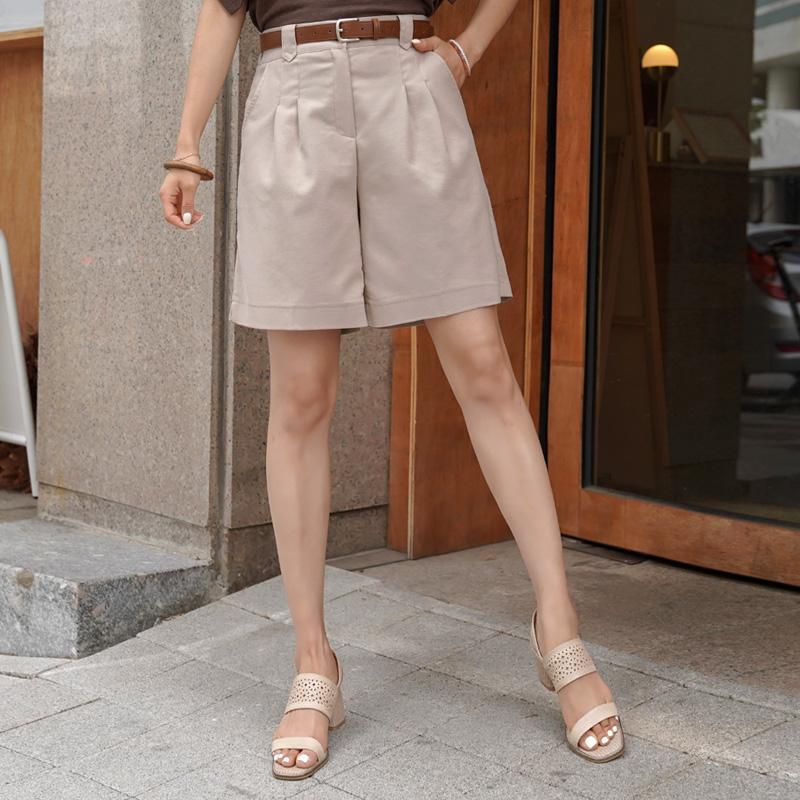 clicknfunny-[공들인린넨 핀턱반바지[S,M,L사이즈]]♡韓國女裝褲