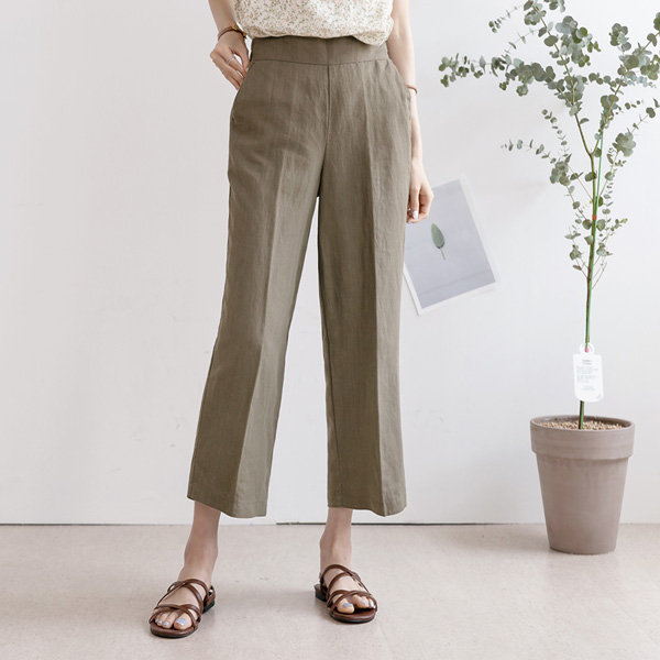 misscandy-[no.19090 린넨혼방 와이드핏 밴딩슬랙스]♡韓國女裝褲