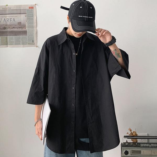 tomonari-토모나리(TOMONARI) [아로하 오버핏 반팔 셔츠]♡韓國男裝上衣