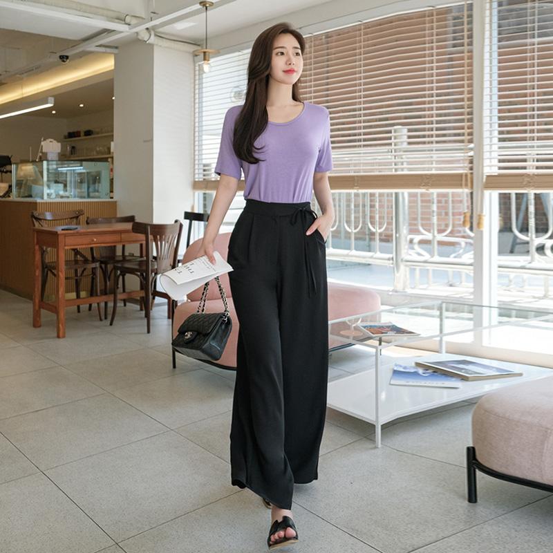 attrangs-ps2239 사이드 언발 스트랩 디테일로 엣지있는 허리밴딩 와이드 슬랙스 팬츠 slacks♡韓國女裝褲