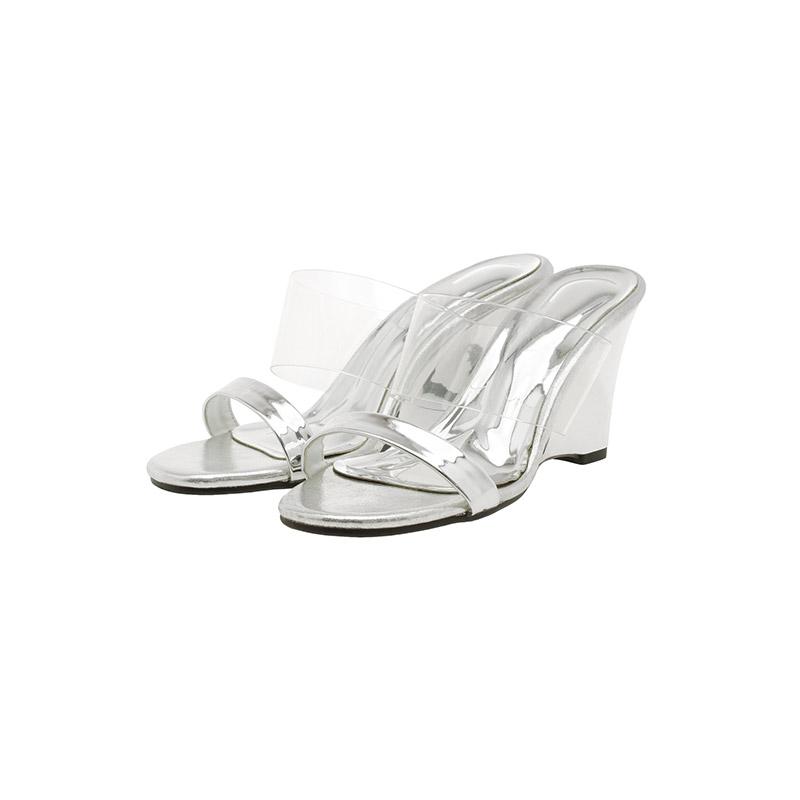 attrangs-sh1878 SS 시즌 포인트로 착용하기 좋은 투명 PVC 스트랩 포인트의 오픈토 웨지힐 shoes♡韓國女裝鞋