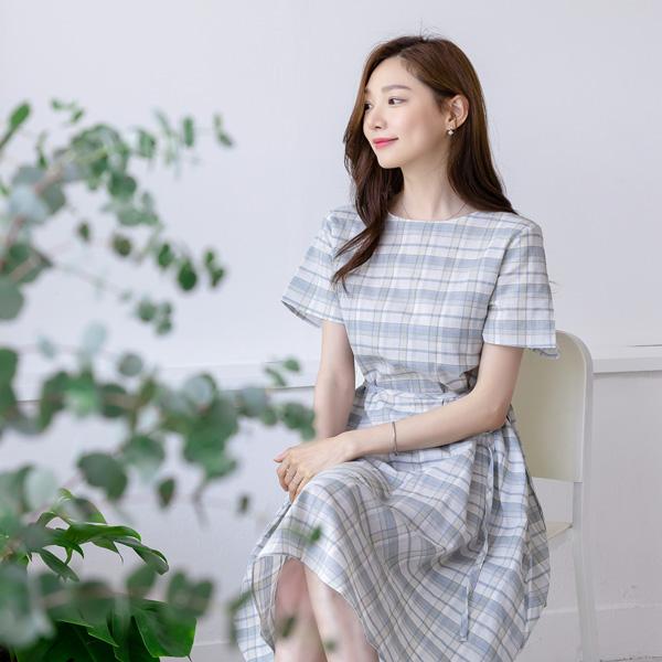 misscandy-[no.18960 체크패턴 A라인 루즈핏원피스]♡韓國女裝連身裙