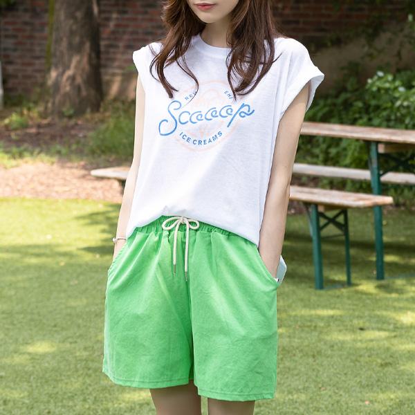 misscandy-[no.19092 배색스트링 피그워싱 3부바지]♡韓國女裝褲