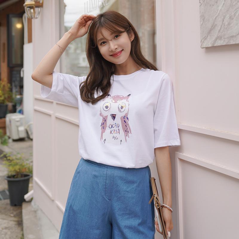 clicknfunny-[카사부엉이 홀로그램티셔츠]♡韓國女裝上衣