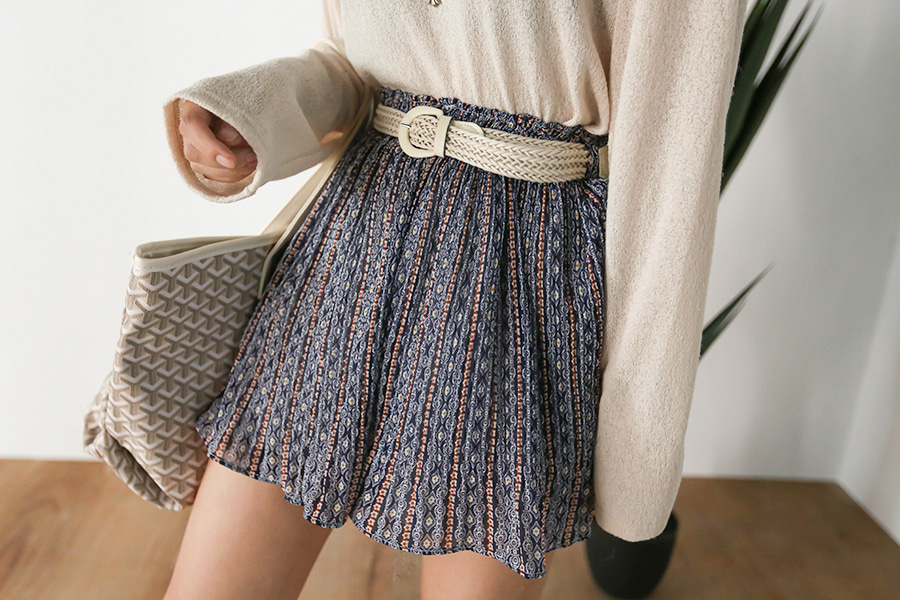 blancjo-에스닉 플리츠 벨트 큐롯 팬츠_PT04093♡韓國女裝褲