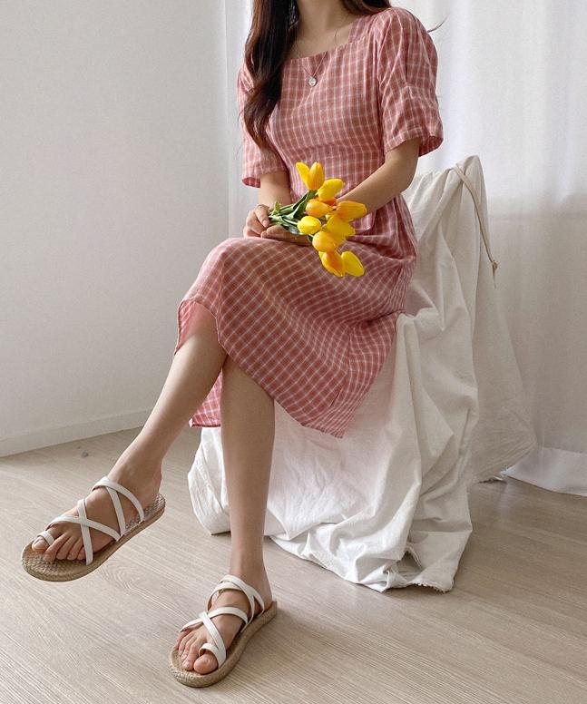 田園風格紋連身裙