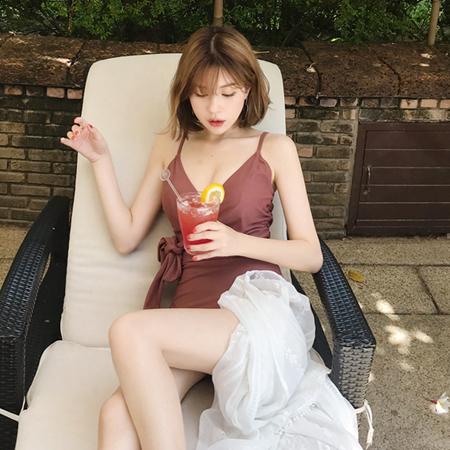 mimididi-[pink brown♡ 모노키니_8093]♡韓國女裝泳裝