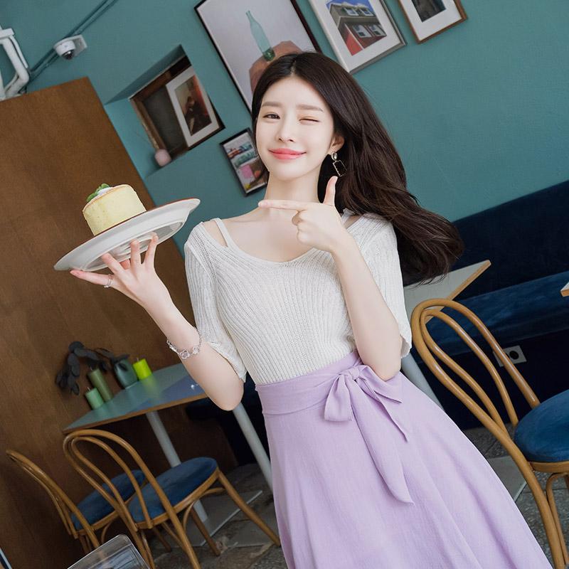 attrangs-nt1855 어깨트임 디자인으로 포인트를 선사할 골지 썸머니트티 knit♡韓國女裝上衣